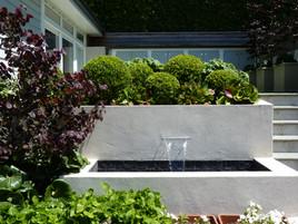 Water feature & boxwood balls
