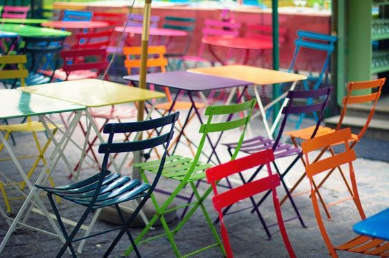 Wide range of coloured bistro chairs