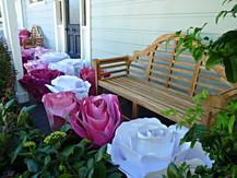 A pair of Lutyens benches on the front door verandah