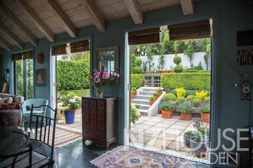 Indoor outdoor flow between living room and outside courtyards