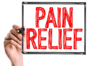 someone writing the words pain relief