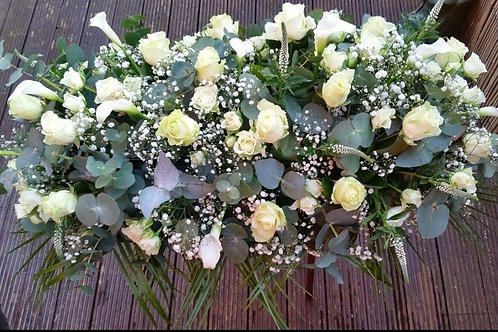 White mixed Flower Coffin Top