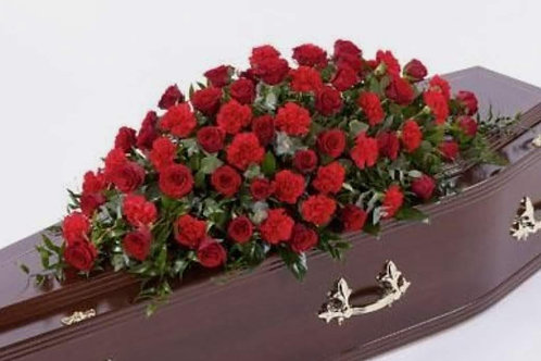 Red Rose and Carnation Coffin Top