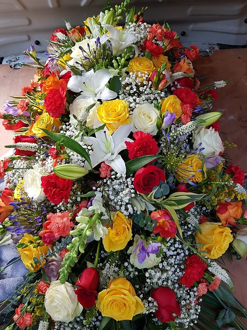 Multi-coloured Mix Flower Coffin Top
