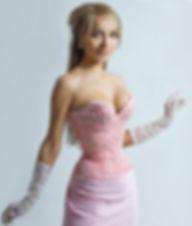 Розовый кружевной утягивающий вечерний корсет очень сильно утягивает талию, упругие мускулы и даже нижние рёбра, хорошо держит большу грудь