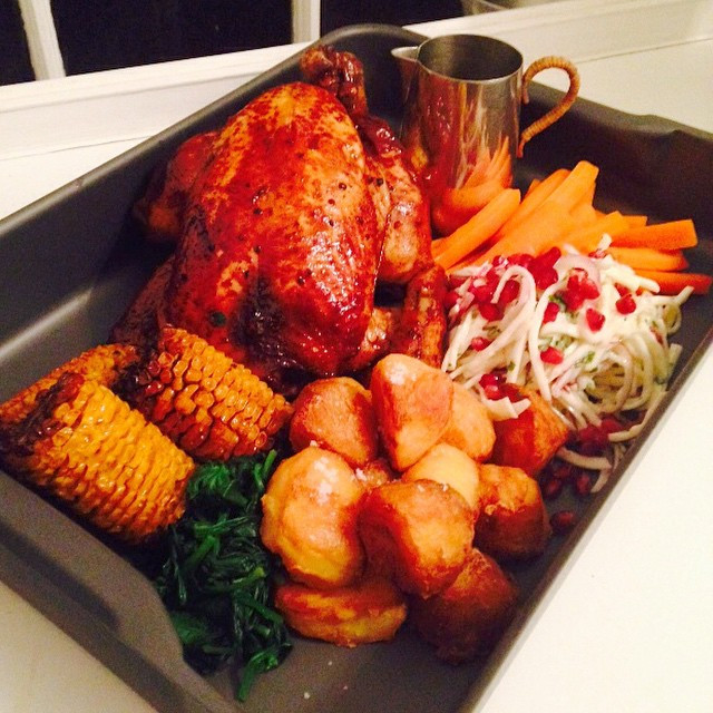 Instagram - Guinness chicken and all the sides! #oldtowncooks #chicken #roast #f