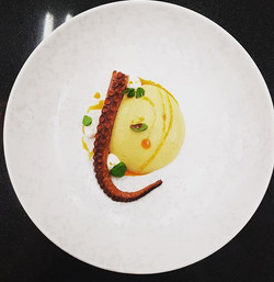 Octopus, smoked chickpea, basil labneh,