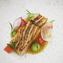Confit and torched salmon, vanilla, avoc