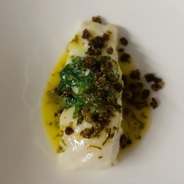 Turbot en papilotte, Bergamot, herb and