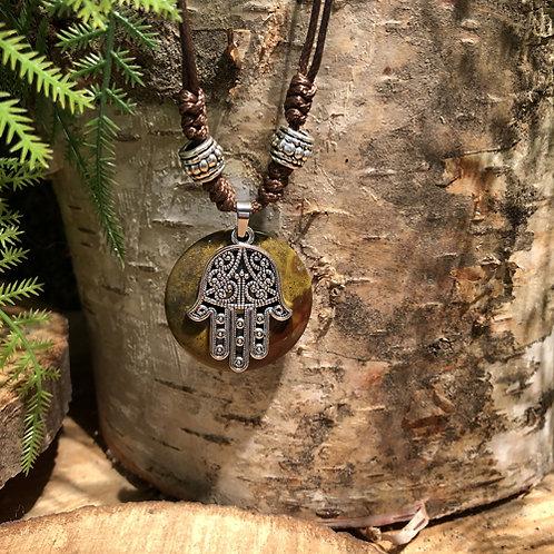 Fatima handje collier met Picasso Jaspis steen.