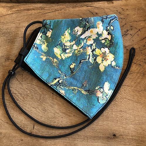 "Mondkapje ""Amandelbloesem ""van Gogh blauw wit bloem"