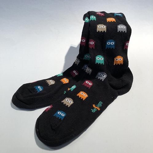 """Leuke coole sokken met """"Pac Man"""" . Wie heeft het spel in de jaren 80 niet gespeeld .rood zwart blauw"""