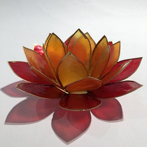 Waxinehouder Lotus Oranje/Rood