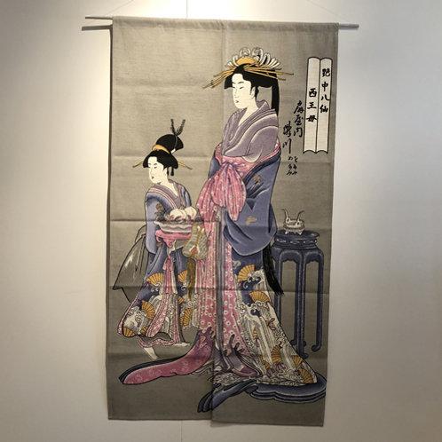 Japans deur gordijn ( Noren)vrouwen figuur