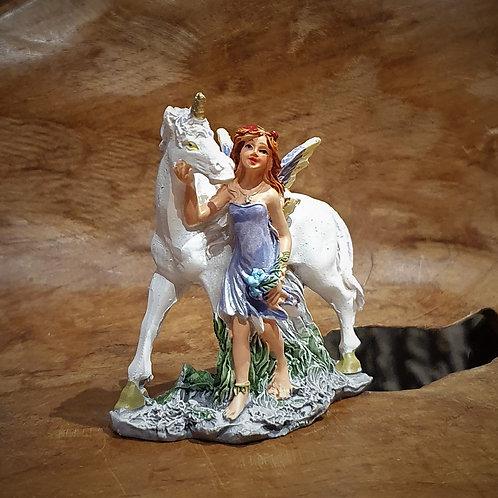 Miniature miniatuur Fairy with unicorn elfje met eenhoorn figurine beeldje fantasy shop chimera