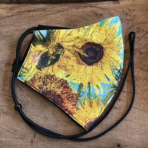 """Mondkapje """"Zonnebloemen """"van Gogh geel bloem"""