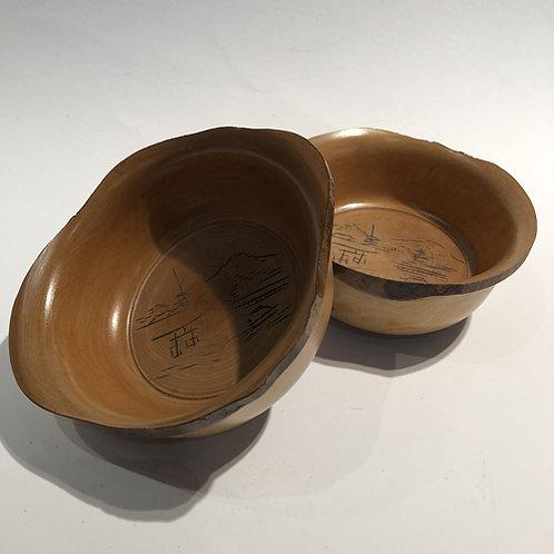 Mooie houten hand gemaakte kommen kom Japan