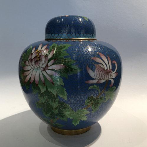 Cloisonne  Hand gemaakte cloisonne gemberpot 25 cm hoog.  Made in China. blauw bloemen