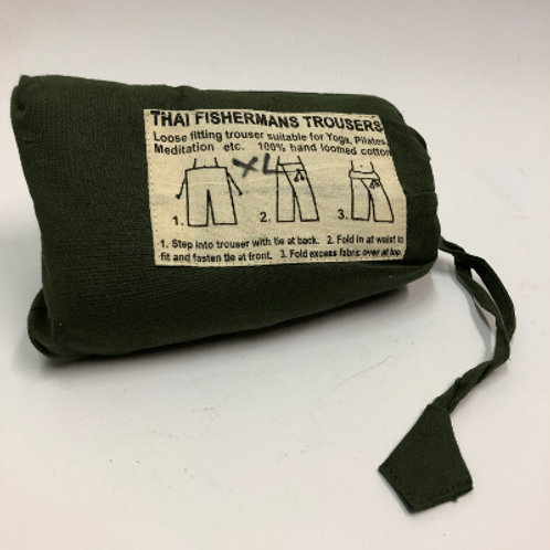 Fisherman's Trouser XL Army Groen broek katoen yoga