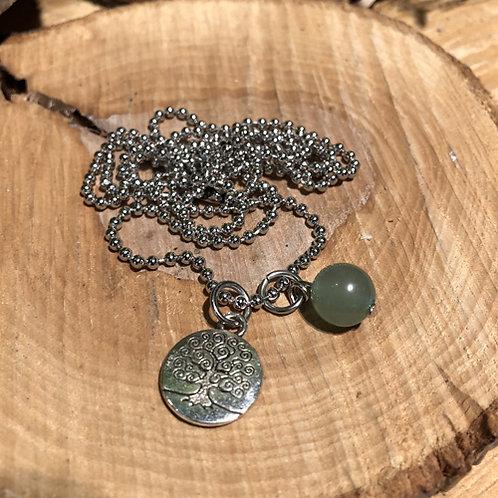 Tree of life collier met Jade steen.