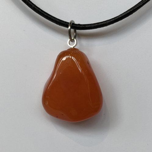 Carneool/ cornalijn oranje steen hanger