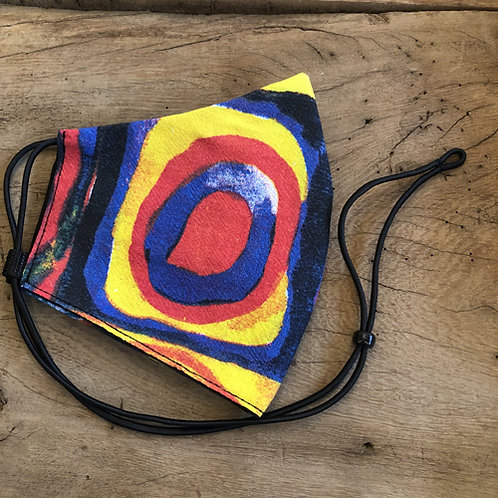 Wassily Kandinsky kunstschilder blauw geel rood mondkapje