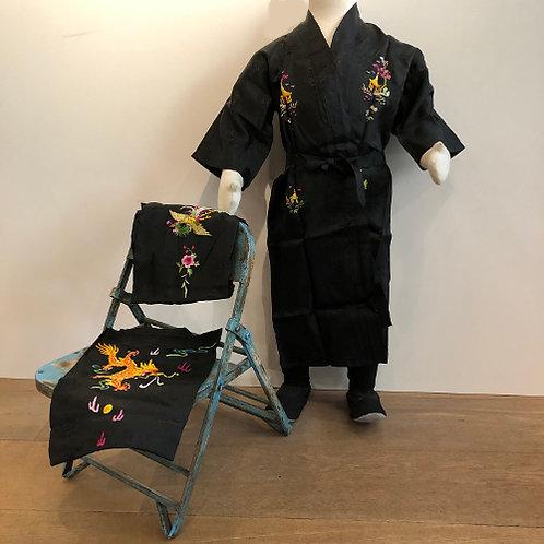 Mooie kimono speciaal voor kinderen draak landschap Phoenix zwart rayon