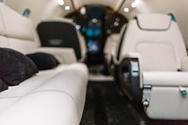 Business jet aircraft interior with leat