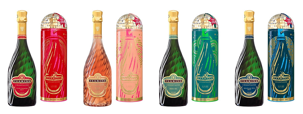 Special 2019 holiday season packaging for the bottles of 4 cuvées of champagne Tsarine