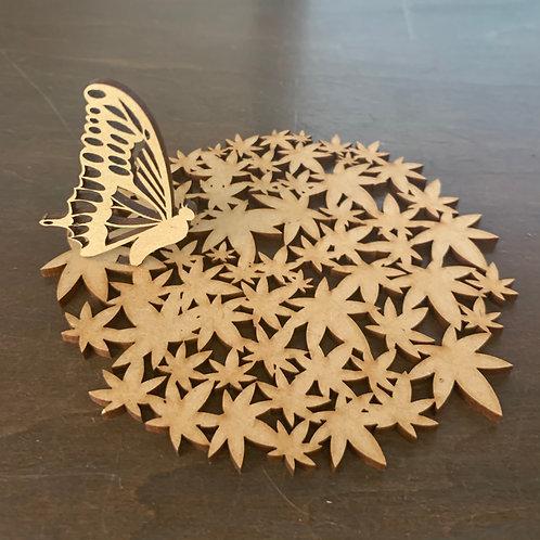 お洒落木製コースター(桜、蝶々、紅葉)