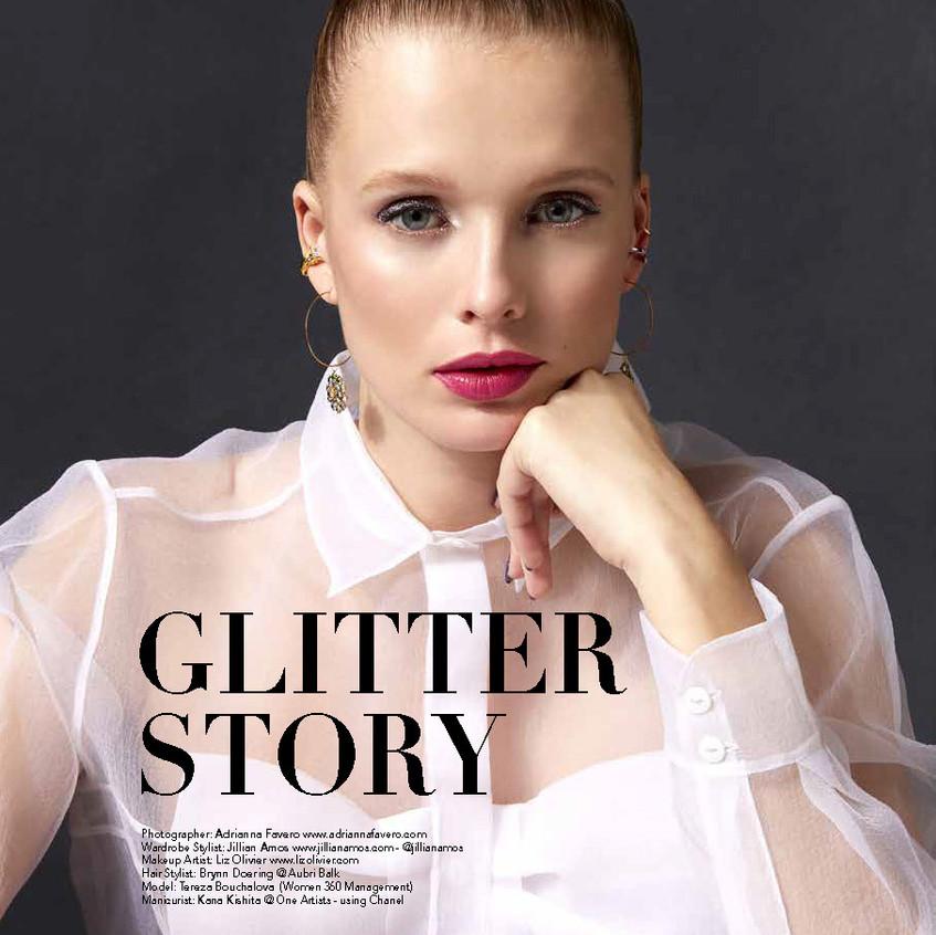 Glitter makeup editorial for Reve beauty magazine