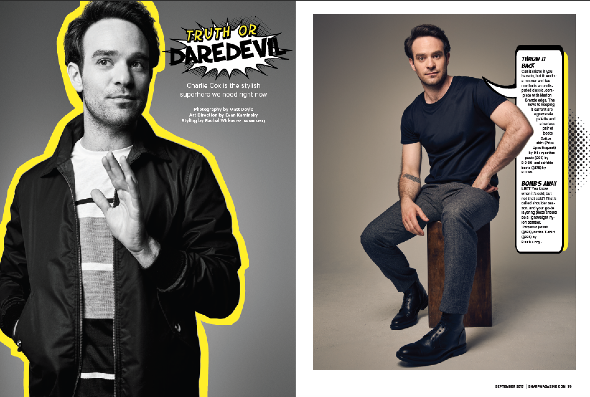 Actor Charlie Cox from Daredevil for Sharp magazine