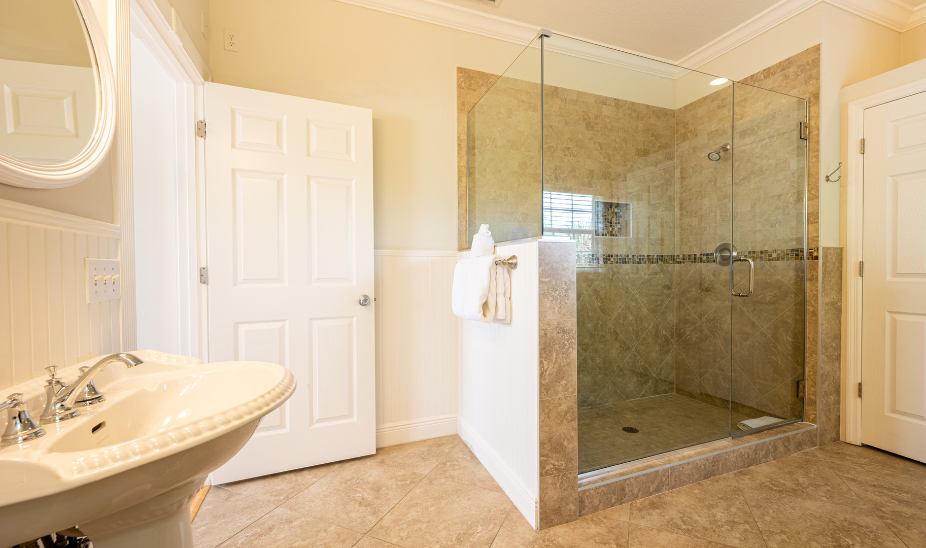 Attached master bathroom with shower