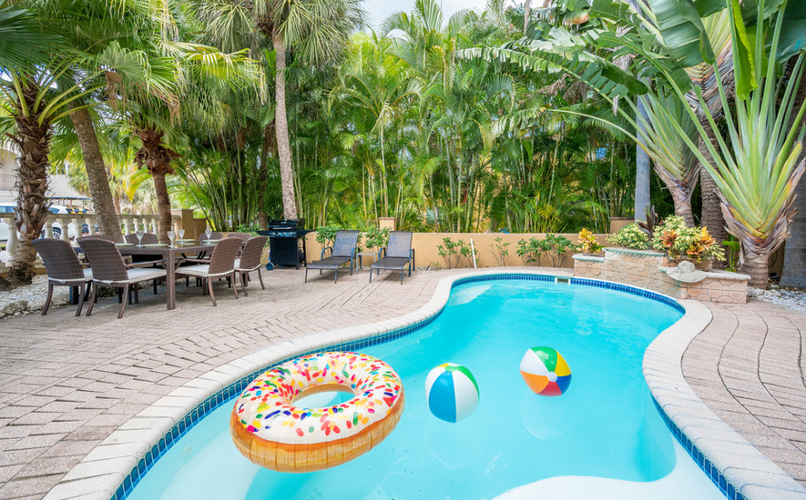 Pool deck with gas grill