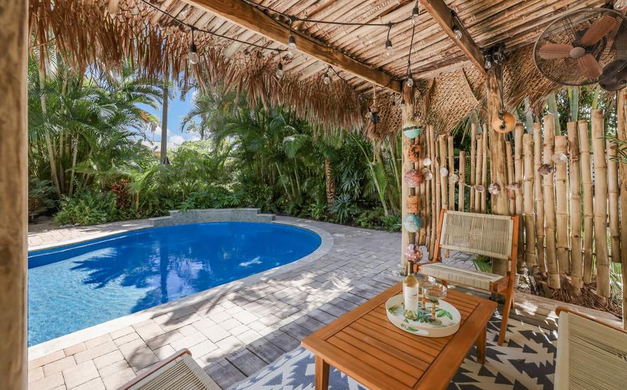 Tiki bar and pool