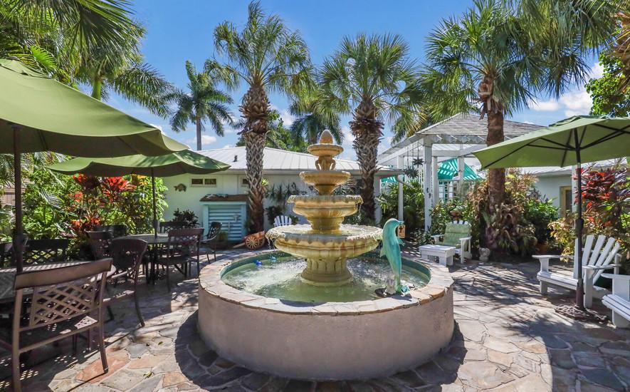 Botanical gardens and seating around the
