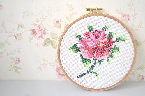 ערכת רקמה - רקמת איקסים, ורד