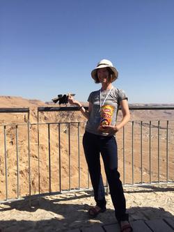 Feeding birds at Masada