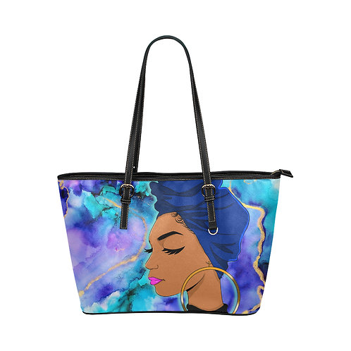 Wrapped In Truth Blue Leather Tote