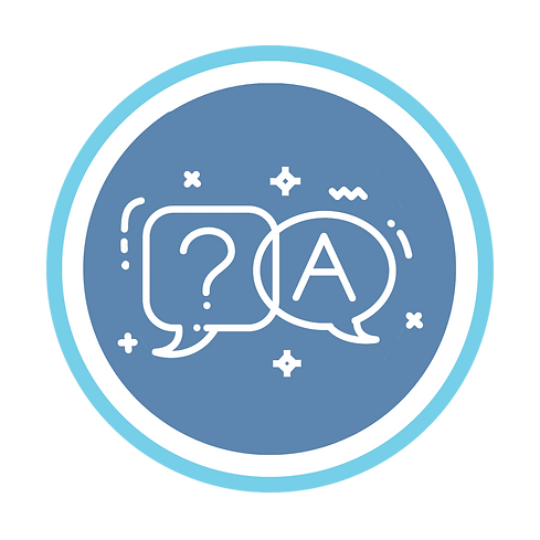 Media blue and white question and answer logo