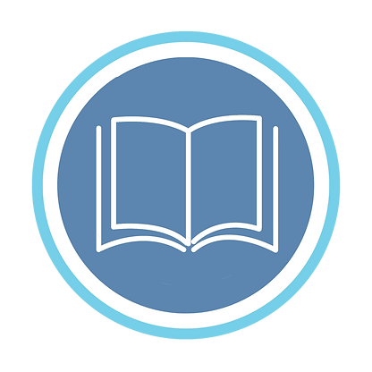 English blue and white book logo