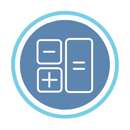 Maths blue and white calculator logo