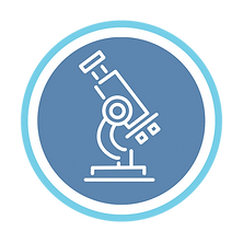 Science microscope blue and white logo