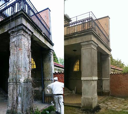 Renovering av pelare, stuckaturfirman, räthel, stuckatur