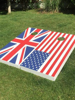 USA vs Union Jack flag set - Large size