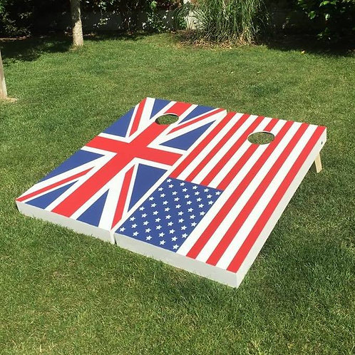 Large Flag design cornhole boards and 8 x throwing bags