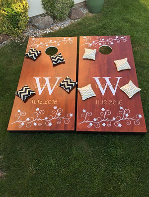 Large personalised stained cornhole boards and 8 x throwing bags