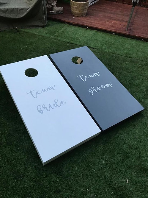 Large wedding cornhole boards and 8 x throwing bags