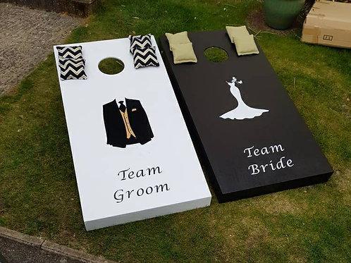 Large wedding Team Bride, Team Groom cornhole boards with 8 x throwing bags