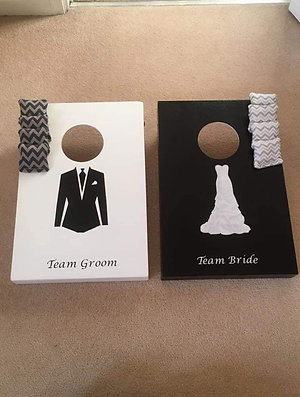 Mini team bride, team groom cornhole boards and 8 x throwing bags